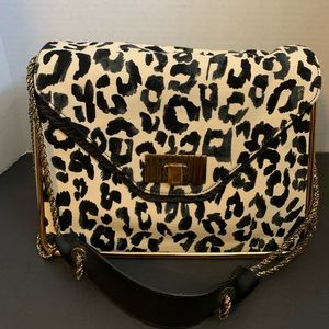 Chloe leopard double chain shoulder bag